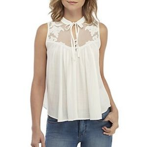 Free People Western Romance Lace Trim Tank S, NWT